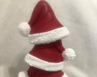 Ceramic Santa Hat Stack with glitter fir