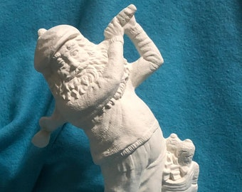 Golfing Santa Ceramic Bisque ready to paint