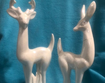 Set of Ceramic Deer with Milk Glaze and Mother of Pearl