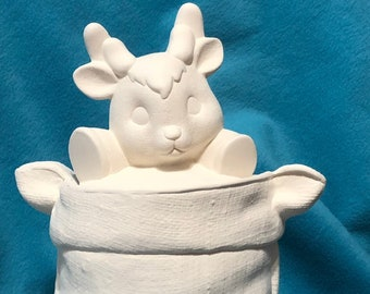 Ceramic Burlap Sack Reindeer Cookie Jar ready to paint