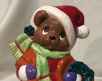 Glazed Ceramic Christmas Female Bear
