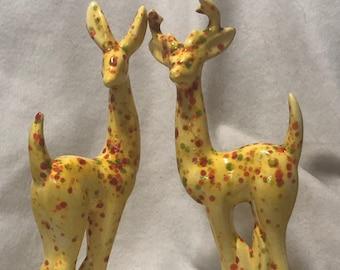 Yellow Glazed Ceramic Deer