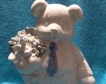 Milk Glass Glazed Ceramic Easter Bear with Firefly Flowers