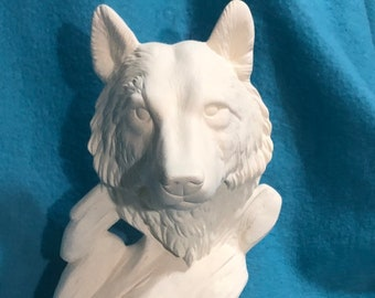 Emerging Wolf Ceramic Bisque