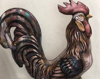 Large Ceramic Dry Brushed Rooster using Mayco Acrylic Stains