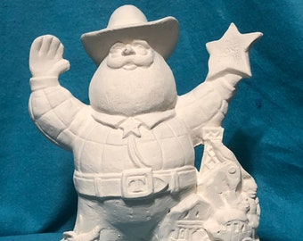 Texas State Santa Claus Ceramic Bisque ready to paint
