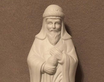 Wise Man from Nativity Scene Ceramic Milk Glazed Art