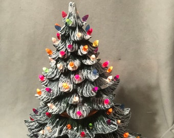 Large Green Glazed Ceramic Christmas Tree with multi color lights and star