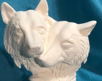 Wolf Couple Ceramic Bisque