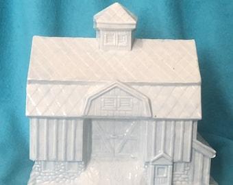 Sheer Blue Glazed Ceramic Barn