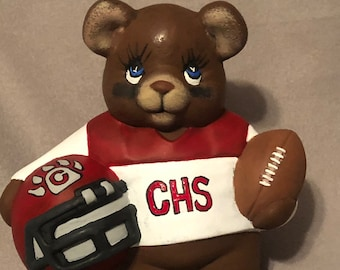 Cottonwood Bear Football Player Ceramic Art