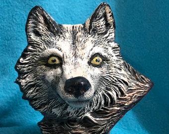 Ceramic Wolf Bust
