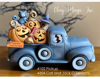 New Clay Magic Old Time Jalopy Pickup Truck with Jack O'lanterns Lid in ceramic bisque cut out for lights with light kit ready to paint