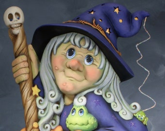 Ms. Wicked Witch by Clay Magic with base in ceramic bisque ready to paint