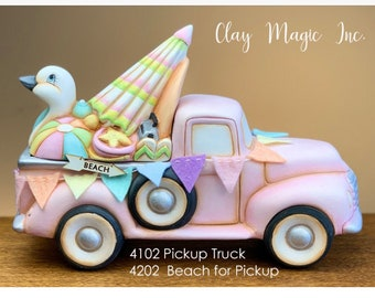 New Clay Magic Jalopy Pickup Truck Box with Beach Lid in ceramic bisque ready to paint