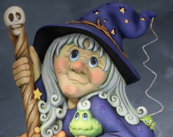 Ms. Wicked Witch by Clay Magic without base in ceramic bisque ready to paint