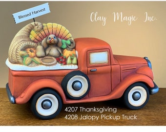 New Clay Magic Thanksgiving Lid in ceramic bisque ready to paint (truck not included)