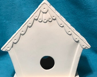 Bird House Feeder in Ceramic Bisque