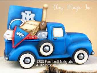 New Clay Magic Tailgate Football Lid in ceramic bisque ready to paint (truck not included)