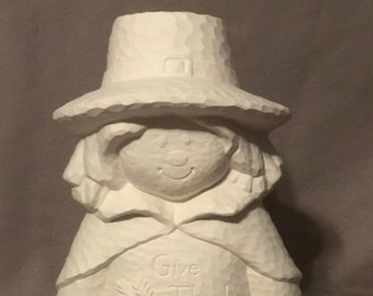 Clay Magic Boy Pilgrim Scarecrow Ceramic Bisque ready to paint with hammered finish