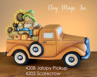New Clay Magic Jalopy Pickup Box with Scarecrow Lid in ceramic bisque ready to paint