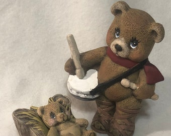 Drummer Bear and Baby Bear in a Manger