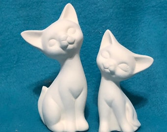 Set of Siamese Cats Ceramic Bisque ready to paint