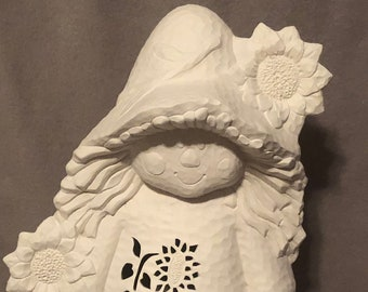Clay Magic Girl Scarecrow Ceramic Bisque ready to paint with hammered finish