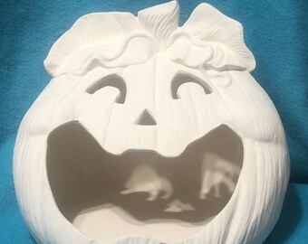 Pumpkin Candy Dish in Ceramic Bisque