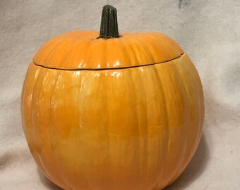 Glazed Ceramic Pumpkin Candy Dish