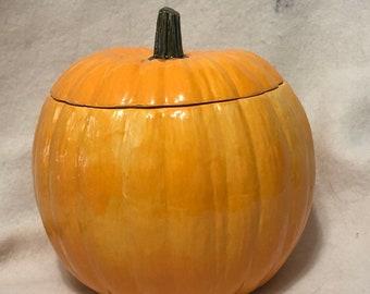 Glazed Ceramic Pumpkin Candy Dish