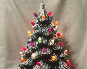 Green Glazed Ceramic Christmas Tree with multi color lights and base
