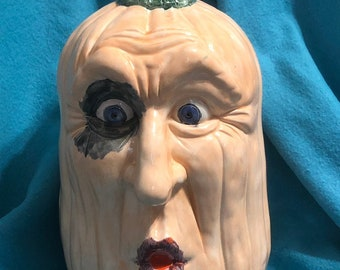 Glazed Ceramic Halloween Pumpkin