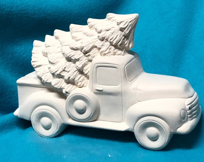 Featured listing image: Classic Pickup with tree ceramic  bisque