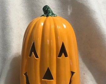 Halloween Glazed Ceramic Pumpkin