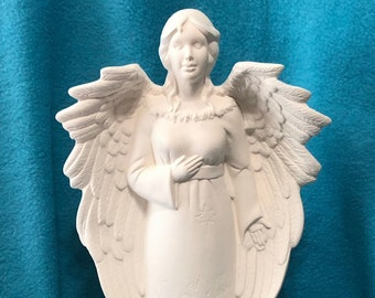 Angel with Nativity Scene in Ceramic Bisque