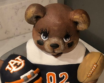 Ceramic Football Bear