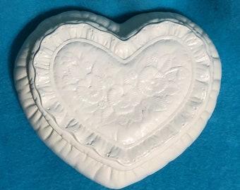 Milk Glass Glazed Ceramic Jewelry Box or Candy Dish
