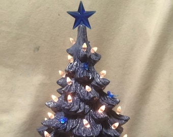 Glazed Sapphire Blue Ceramic Christmas Tree with clear light pack and blue birds
