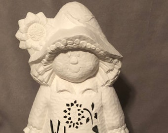 Clay Magic Boy Scarecrow Ceramic Bisque ready to paint with hammered finished