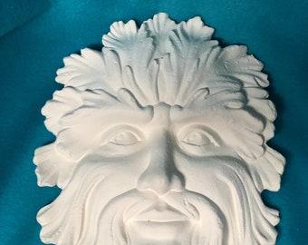 Green Man Mask Ceramic Bisque