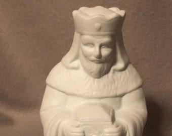 King from Nativity Scene Ceramic Milk Glazed Art