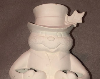 Snowman Candy Cane Holder Ceramic Bisque ready to paint