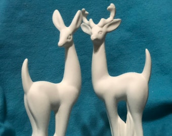 Set of Christmas Deer Ceramic Bisque ready to paint