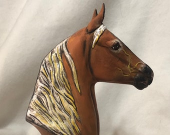 Dry Brushed Ceramic Morgan Horse Bust and Base
