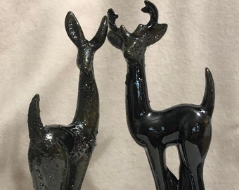 Glazed Black Ice Ceramic Deer