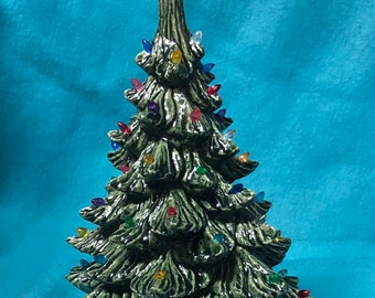 Ceramic Christmas Tree bluegrass green and glazed white base