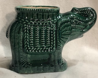 Glazed Green Saphire Elephant Vase or Candy Dish