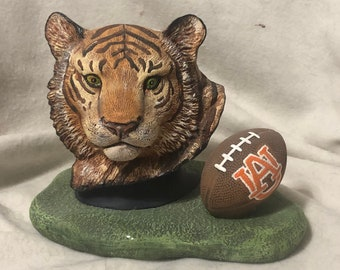 Ceramic Auburn Tiger with football
