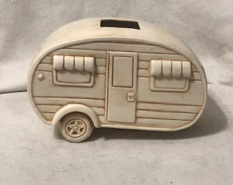 Antiqued and Glazed Ceramic Camper floral arrangement holder